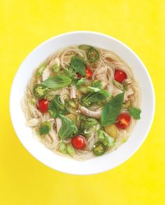 Noodle soup, that is! This lively recipe uses vermicelli noodles along with shredded chicken, fish sauce, jalapenos, cilantro, and ginger.