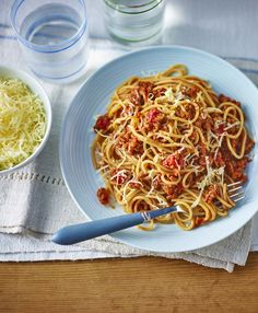 This meaty Bolognese hides lots of lovely vegetables, making it a healthy recipe for all the family Healthy Snacks For Diabetics, Healthy Pastas, Healthy Foods To Eat, Healthy Smoothies, Healthy Recipe Videos, Super Healthy Recipes, Veggie Recipes, Pasta Recipes, Brunch