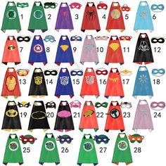 Superhero Cape Mask Set for Kids Halloween Costume by Sharbathi