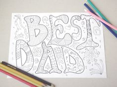 best dad colouring card father's day daddy page kids instant download colouring meditation zen printable print digital lasoffittadiste