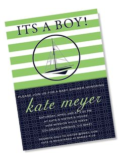 PREPPY NAUTICAL Printable Party Invitation - Navy and Kelly Green Printing Available on Etsy, $13.95
