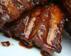 These fall-off-the-bone pineapple habanero ribs are baked, then glazed with a slightly sweet and a little spicy barbeque sauce. The sauce is super simple to make; plain barbeque sauce is combined with pineapple juice and habanero pepper hot sauce. Rib Recipes, Grilling Recipes, Slow Cooker Recipes, Dinner Recipes, Barbeque Sauce, Bbq Pork, Barbecue, Pork Roast, Pulled Pork