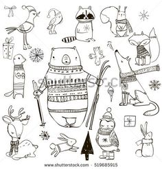set with cute winter animals