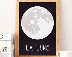 Moon art print, Wall art print, Baby boy nursery, Nursery print, Baby room decor, Nursery art print, La lune, The moon decor, Kids room art