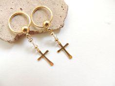 Gold Cross Nipple Rings Set of 2/  Crystal Nipple Jewelry by SeductiveBodyWorks, $18.00