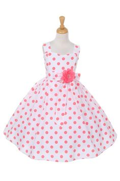 Pretty Coral Polka Dot Flower Girl Dress This pretty polka dotted dress is shown in coral and available in several pretty polka dot colors. Fully lined, and Made in America. This dress is perfect for a birthday or special occasion. Girls Party Dress, Girls Dresses, Baby Dresses, Coral Flower Girl Dresses, Flower Girls, First Communion Dresses, Victoria, Pageant Dresses, Coraline