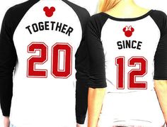 Cheesy Cute Girlfriend Gifts: Personalized Custom His and Hers Matching Disney Mickey Mouse and Minnie Mouse Raglan T-Shirts with Year by Pat's Customs @ Etsy