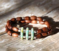 Double Strand Turquoise Beaded Bracelet by BeadRustic on Etsy, $35.00