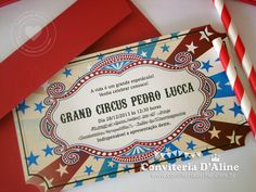 Convites tema Circo | Ingresso Vintage | Conviteria D'Aline Circus Birthday, Circus Party, Circus Invitations, Circo Vintage, Baby Party, Lucca, Open House, Carnival, Cards