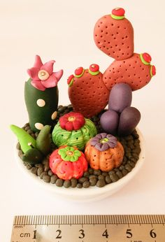 Miniature Cactus Colony - Polymer Clay FREE SHIPPING