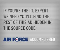 Air Force Banner that uses the source code function on web browsers to relay the rest of the message.