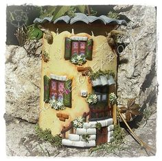 HPIM1165 Roof Tiles, Magical Creatures, Home Projects, Ideas Para, Gingerbread, Decoupage, Brick, Home And Garden, House