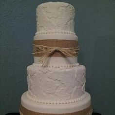 burlap and lace wedding cakes | Parties / Burlap and Lace Wedding Cake ...make beading at base of each ...