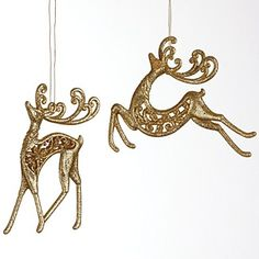 gold reindeer ornaments - White And Gold Christmas Ornaments