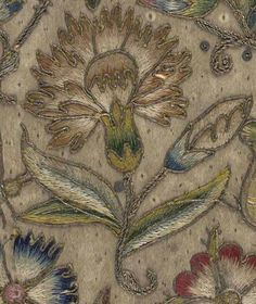 Elizabethan embroidered carnation; prints in the Elizabethan era were large and geometric, and usually included scenes of flora and fauna.