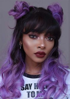 Pantone's Color of the Year, Ultra Violet, Is the Perfect Hair Inspiration Purple Hair Black Girl, Pastel Purple Hair, Violet Hair, Hair Color Purple, Hair Dye Colors, Colorful Hair, Two Color Hair, Light Purple Hair Dye, Black Hair With Color