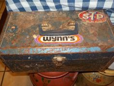 Rusty Blue Metal Tool Box by Daysgonebytreasures on Etsy