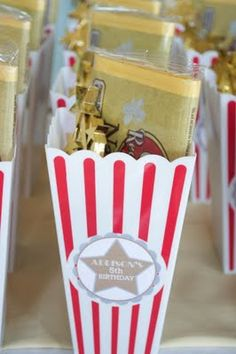 Hollywood glam birthday party theme for kids. Movie Star Party, Movie Night Party, Party Time, Movie Nights, Movie Party Favors, Party Favours, Party Bags, Party Party, Hollywood Birthday Parties
