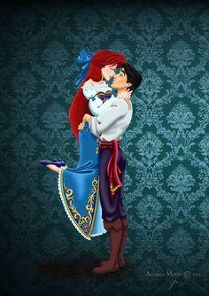Designer fairytale: ariel+eric by missmikopete disney küçük denizkızı, arie Disney Magic, Disney Amor, Goth Disney, Disney Little Mermaids, Ariel The Little Mermaid, Disney Girls, Disney Animation, Disney Fan Art, Disney Love