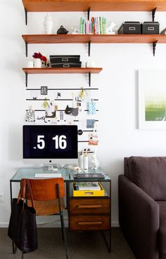 Make the most of a small living space with your home office by going vertical. Great vintage modern desk. #DIY memo strips with washi tape and lots of shelving. #workspace