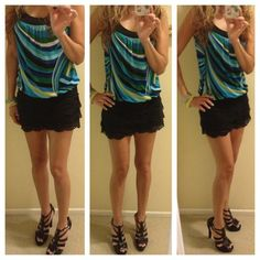 Stripped top w blues n greens- MAKE AN OFFER Size S , stripped tank top , cute on Tops