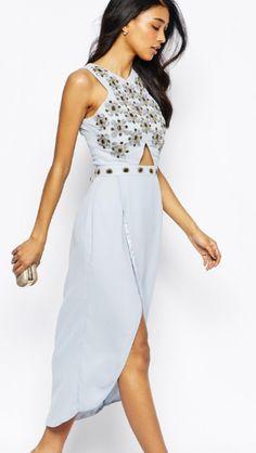 cf04cf186bec Image 4 of Virgos Lounge Candace Jewelled Bodice Midi Dress With Wrap Front  Skirt