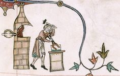 Gorleston Psalter, 14th century, f. 193r:  detail of a marginal scene of man working on a forge