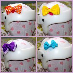 Doc Band and Helmet accessory kits by LolasBandAccessories on Etsy. , via Etsy.- Velcro hair bows :)