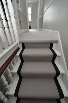 wool stair runners Bowloom wool carpet, fitted stair runners with binding tape Victorian Stairs, Carpet Staircase, Staircase Runner, Decoration Hall, Hallway Designs, Hallway Ideas, Hall Flooring, Hallway Inspiration, Bungalow Renovation