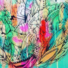 so much colourrrr  #sirmano #illustration #painting #artist #brisbaneart #brisart #leaves #flowers #colour #birdsillustration #bird by sirmano