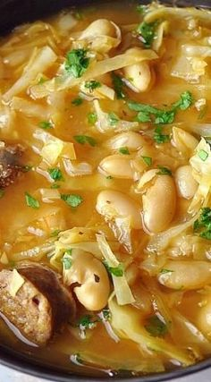 Cabbage, Italian White Bean & Sausage Soup by Kim Bell - Easy-recipes. Seafood Recipes, Cooking Recipes, Dinner Recipes, White Bean Sausage Soup, White Bean Soup, White Beans, Healthy Soup, Healthy Recipes, Enjoy Your Meal