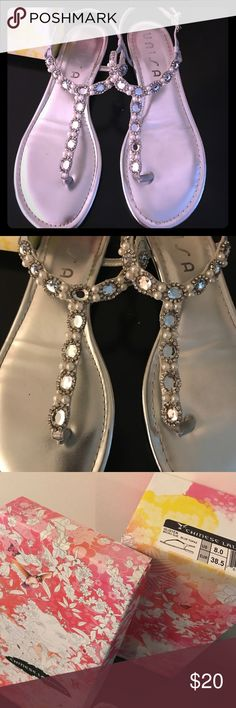 Silver  rhinestones/pearls small wedge heel Silver dress sandal rhinestones and pearls with small wedge heel. Only wore once. Size 8 Chinese Laundry Shoes Sandals