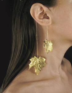 Statement gold earcuff, statement ear cuff, maple leaf earrings, art jewelry, gift for woman - Women's style: Patterns of sustainability Ear Jewelry, Rose Gold Jewelry, Jewelry Art, Fine Jewelry, Fashion Jewelry, Women Jewelry, Flower Jewelry, Topaz Jewelry, Jewelry Shop