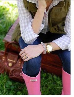Light pink Hunter rain boots