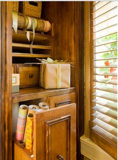 Gift wrapping storage