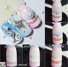 Nail art Christmas - the festive spirit on the nails. Over 70 creative ideas and tutorials - My Nails Palm Nails, Sea Nails, 3d Nail Art, Nail Art Designs, Nagellack Trends, Mermaid Nails, Nagel Gel, Beautiful Nail Designs, Nail Decorations