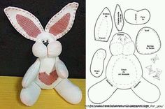 homemade Easter bunny rabbit stuffed soft toy pattern template idea design craft sewing