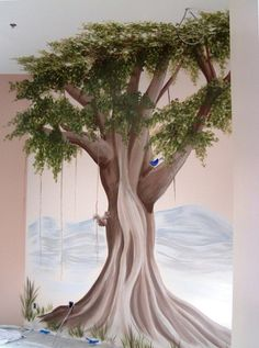 Banyan Tree Mural for interior of new Indian Restaurant, Namaste-Liberty, Mo (opening March 2012)