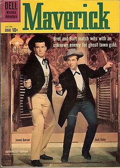 Maverick is a western television series with comedic overtones created by Roy Huggins. The show ran from September 1957 to July 1962 on ABC and stars James Garner as Bret Maverick, a cagey, articulate cardshark. Vintage Comic Books, Vintage Tv, Nostalgia, Mejores Series Tv, Cinema Tv, Vintage Television, Tv Westerns, Old Comics, Deadshot
