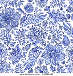 Abstract seamless floral pattern of indigo blue hand painted watercolor fantasy leaves, flowers, Paisley elements and curly branches on a white background. Textile print, album cover.