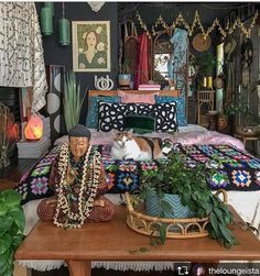 A DARK BOHEMIAN bedroom. Lots of colors patterns & textures. Lots of knickknack Bohemian House Decor Bedroom Bohemian Colors dark knickknack lots patterns textures Dark Bohemian, Bohemian House, Hippie House, Bohemian Style, Bohemian Apartment, Hippie Bohemian, Vintage Bohemian, Gypsy Style, Bohemian Bedroom Decor