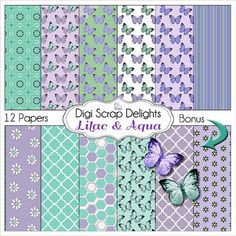 Lilac & Aqua Butterflies Digital Paper Pack by DigiScrapDelights, $3.00