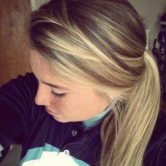 Lyssconn. Side braid loosened into poneytail. Softball hair. Pretty. Blond. Spring.