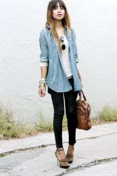 outfit inspiration chambray shirt, gray tee, black skinnies, heels