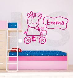 Peppa Pig decal with personalised name (690mmw x 590mmh)