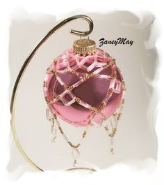 Diamond Christmas Ornament Cover Beading Tutorial in by zaneymay Crochet Christmas Ornaments, Handmade Christmas Decorations, Holiday Ornaments, Christmas Bulbs, Christmas Ideas, Christmas Crafts, Beaded Ornament Covers, Ornament Hooks, Beaded Ornaments