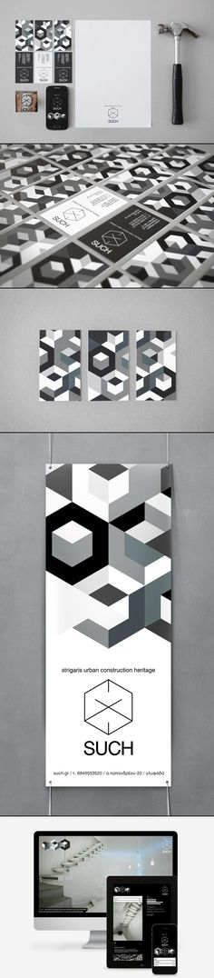 SUCH Brand Identity. The geometric pattern and the black and white color palette work really well for this brand. It seems like the concept came from a hammer, which works really well because the branding is for a constructions company. Graphisches Design, Buch Design, Logo Design, Design Poster, Brand Identity Design, Graphic Design Typography, Brand Design, Corporate Design, Corporate Identity