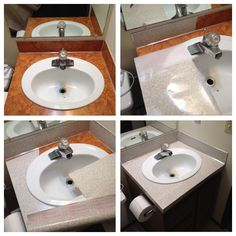 Ugly bathroom sink in our new rental... Now covered with contact paper!