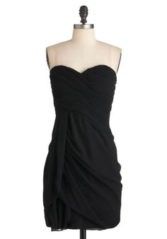 Wave to the Crowd Dress in Black - Black, Solid, Pleats, Party, Empire, Strapless, Cocktail, Chiffon, Mid-length, Ruching, Sweetheart