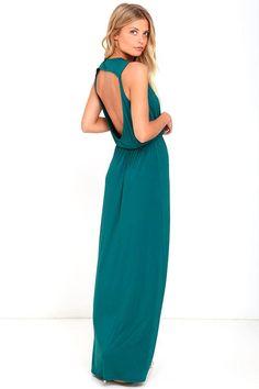 Lulus - Lulus Racing Hearts Forest Green Maxi Dress - AdoreWe.com